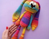 Crochet Amigurumi Bunny Rabbit Rainbow Stuffed Baby Toy