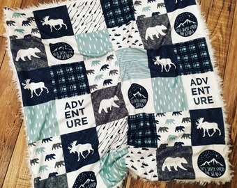 ADVENTURE AWAITS >> baby boy blanket, baby girl blanket, soft cuddle blanket, minky blanket, stroller blanket, faux fur blanket, playmat