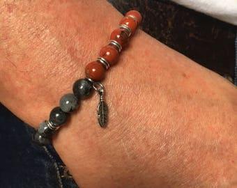 jasper bracelet Bohemian man red and labradorite
