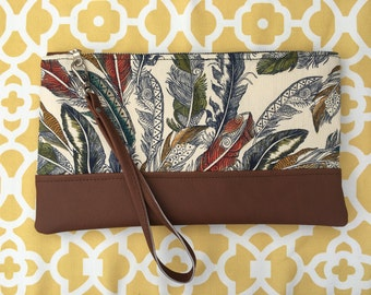 Feather Clutch, Boho Handbag, indie Purse, Handmade Wristlet, Small bag, gift For Her, Casual Day Bag