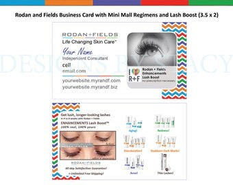 Rodan and Fields Business Card with Mini Mall Regimens and Lash Boost + New Reverse (3.5 x 2)