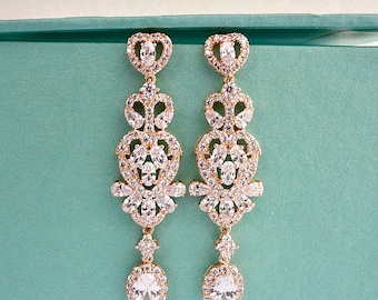 Art Deco Vintage Style Rose Gold Bridal Earrings, CZ Crystal Wedding Earrings, Long Chandelier Statement Earrings, Bridesmaid Earrings