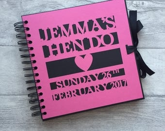 Personalised hen night / do / party, hot pink and black guest book, memory, scrap book, photo album