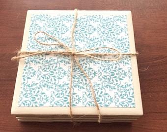 Turquoise & White Coaster Set