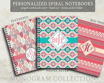 Spiral Notebook - Customized Spiral Notebook - 6x8 Personalized Monogram Notebook