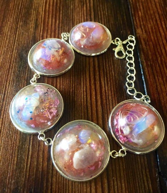 Sacred Geometry Cosmic Spiral Orgone Energy Generator Bracelet- Sacred Feminine Orgonite® Bracelet- Violet Flame Bracelet- Opal