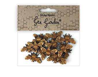 Bee Garden Wooden Embellishments – wooden bees, MDF shapes, laser cut shapes, craft embellishments, card making supplies, decorative bees