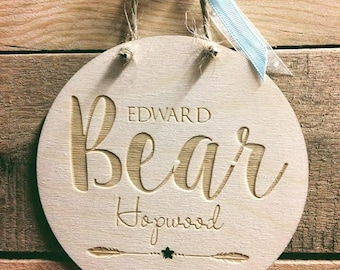 Personalised Birth Announcement plaque , New Baby Gift, Baby Boy / Girl Gift, Baptism Gift , Name plaque, Nursery Art, wooden