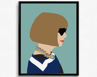 Anna Wintour Minimalist Poster- Feminist Poster, Iconic Women