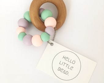 Teething Toy BUBBLEGUM - Silicone and Beech Teething Toy Chunky Silicone Teething Ring - Baby Teether - Wooden Teether