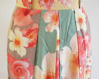 1980s Gerry Weber floral long pleated skirt | UK Size 14