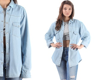 Denim Jean Shirt 80s Faded Light Blue Boyfriend Shirt Western Chambray Press Button Jacket Vintage Oversized Relaxed Fit Cotton Unisex Large