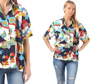 Vintage Nautical Shirt 80s Retro Surfer Ibiza Shirt Button Down White Red Blue Casual Short Sleeve Hipster Boyfriend Summer Shirt M to L