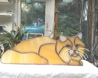 Stained glass Amber Cat