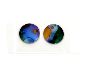Multi coloured small round studs earrings, light weight, surgical steel posts, hypoallergenic, hand painted on anodized aluminum, unique