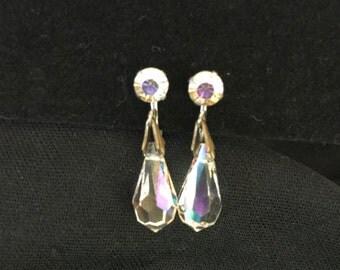 Gorgeous Vintage Clip Earrings, Aurora Borealis Rhinestone, Faceted AB Crystal Drop