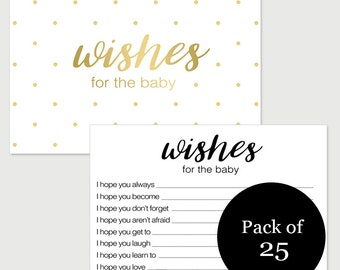 Wishes for Baby Card Printed Baby Shower Game Gold Dot - Pack of 25