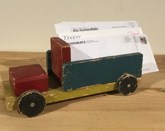 Vintage Wooden Toy Truck /Unique  Mail Holder