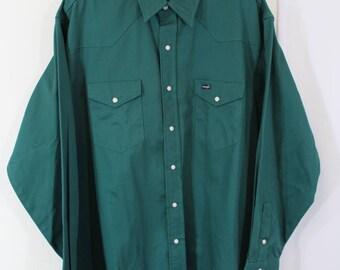 Emerald green XXL mens western snap up Wrangler shirt