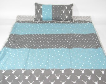 Deer, tree turquoise and gray back triangle minky crib cover