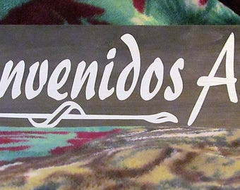 """Spanish Wooden Sign, Says: Bienvenidos Amigos,  Stained-Wood approx. 22''x 6'', BEA-utiful sign """"Good Friends Welcome""""Great  Gift!"""