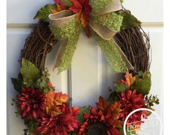 Fall Wreath, Autumn Wreath, Door Wreath, Rust Orange Wreath