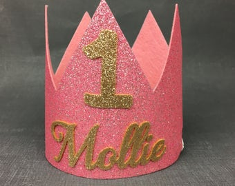 Birthday crown, felt crown, first birthday crown, first birthday, photo props, birthday outfit, cake smash, crown, glitter crown