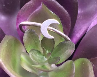 Sterling Silver Moon Ring Stacker Ring Midi Crescent Moon 925