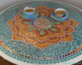 Mosaic Table Lotus Mandala. Mosaic Coffee Table For The Living Room.  Dessert Table Round