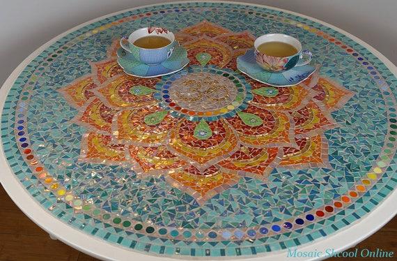 Mandala di lotus tavolo in mosaico tavolino mosaico per il for Tavolo rotondo mosaico