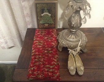 Hand Knit Lace Christmas Scarf