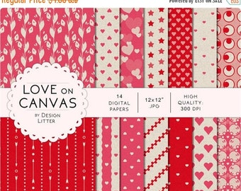 80% Until New Year - Love digital paper: hearts on canvas background in pink, red and gray vintage and retro scrapbook paper for Valentine's