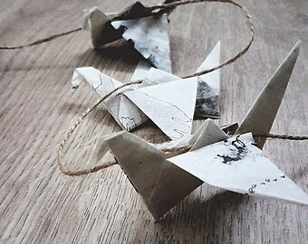 Limited Edition Recycled Black & White Ink Hanging Origami Tracing Paper Cranes String Chain : Japanese / Paper Birds / Monochrome / Art