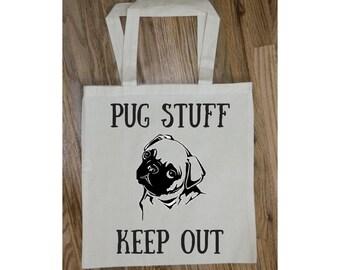 Pug Gift, Dog Tote Bag, Dog Lover Gift, Pug Lover Gift, Pet Lover Gift, New Puppy, New Dog, Pug Lover, Dog Travel Bag, Pet Owner Gift