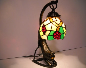Crouching Cat with a Stained Glass Shade Light
