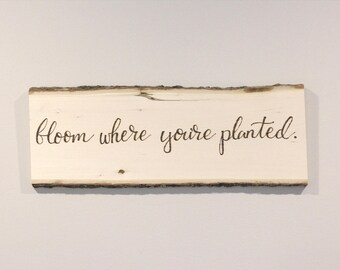 Bloom Where You're Planted, Rustic, Wood Slice, Wall, Hanging, Bark, Raw Wood, Spring, Summer, Floral
