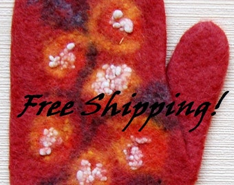 Felted warm mittens for women_38