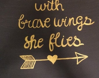 With brave wings canvas/decor/gift/birthday/christmas/inspiration/wall art/art