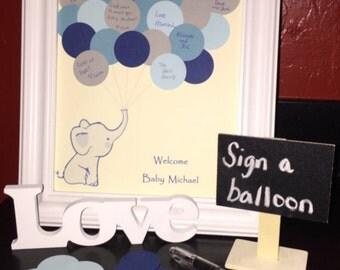 Baby Shower Guest Book Alternative, Guest Book Kit, Baby Elephant Guest Book, Baby Shower Guest Book, Nursery, Sign, Poster