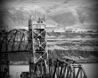 Train, River, Merge, Columbia River, Fine Art Photography, Home Decor, Wall Art, Canvas Gallery Wrap