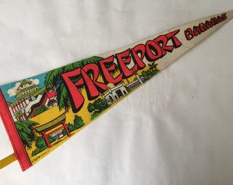 Vintage Souvenir Pennant 1970's Freeport Bahamas 25 Inches Long