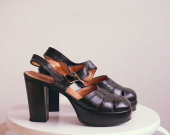 70's black leather platform heels
