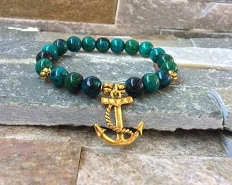 Anchor Chrysocolla wristband bracelet