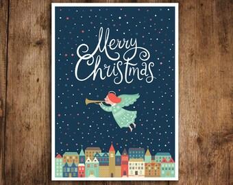 "Angel postcard ""Merry Christmas Angel"", post card, Christmas card"