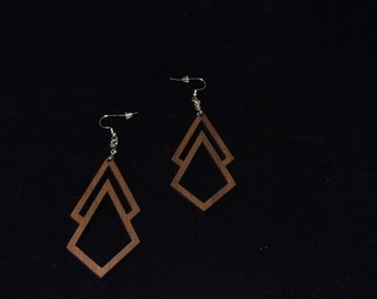 Geometric design earrings. Laser cut walnut.