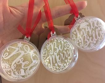 Gold Christmas decorations, baubles, glitter papercut, hand cut, Be Merry, Jingle Bells, Noel, ribbons, 6cm