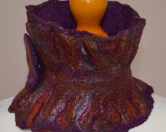 Orange felt neck warmer. Orange felt scarf. Purple felt scarf. Short felt scarf. Winter scarf. Merino wool scarf.
