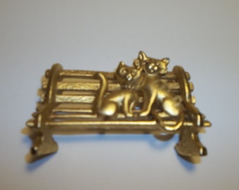Vintage Cats On A Bench Brooch