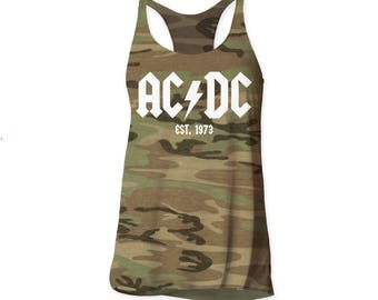 AC/DC Logo Soft 30/1 Women's Cotton Tank (ACDCWTK2) Camo