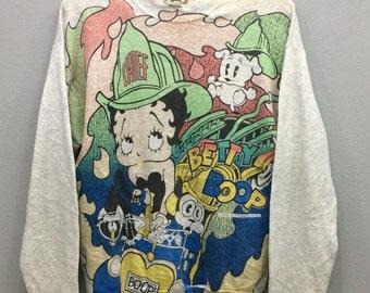 Vintage Betty Boop Sweatshirt Big Logo Overprint Made in Usa